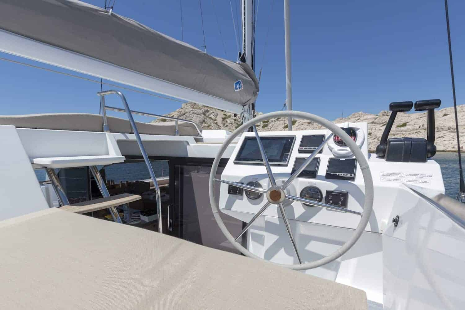 Luxurious and stylish navigation area of the Beautiful and luxurious design of the spacious head of the Fountaine Pajot Astrea 42