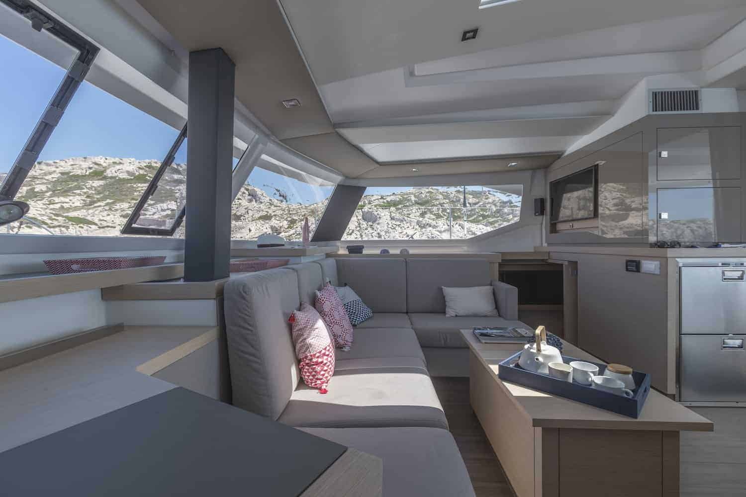 Amazing and relaxing saloon area of the Beautiful and luxurious design of the spacious head of the Fountaine Pajot Astrea 42