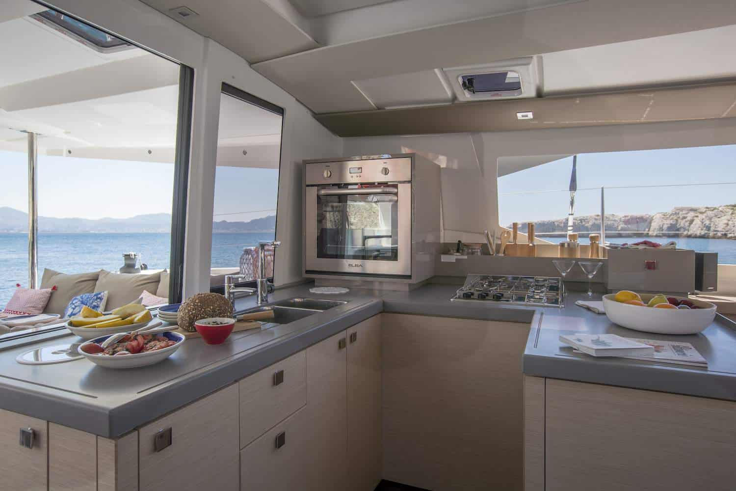 Stunning fully equipped kitchen of the Beautiful and luxurious design of the spacious head of the Fountaine Pajot Astrea 42