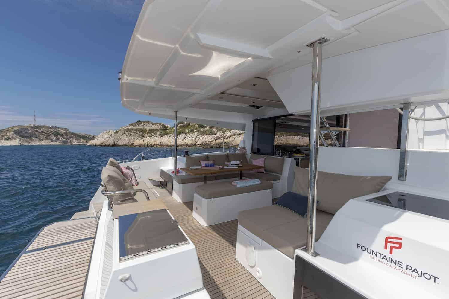 Massive cockpit area of the Beautiful and luxurious design of the spacious head of the Fountaine Pajot Astrea 42