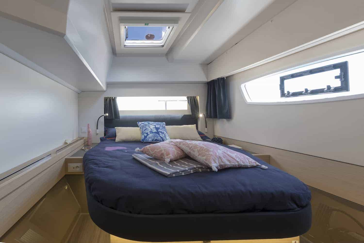 Beautiful double bed of the owners cabin in the Fountaine Pajot Astrea 42
