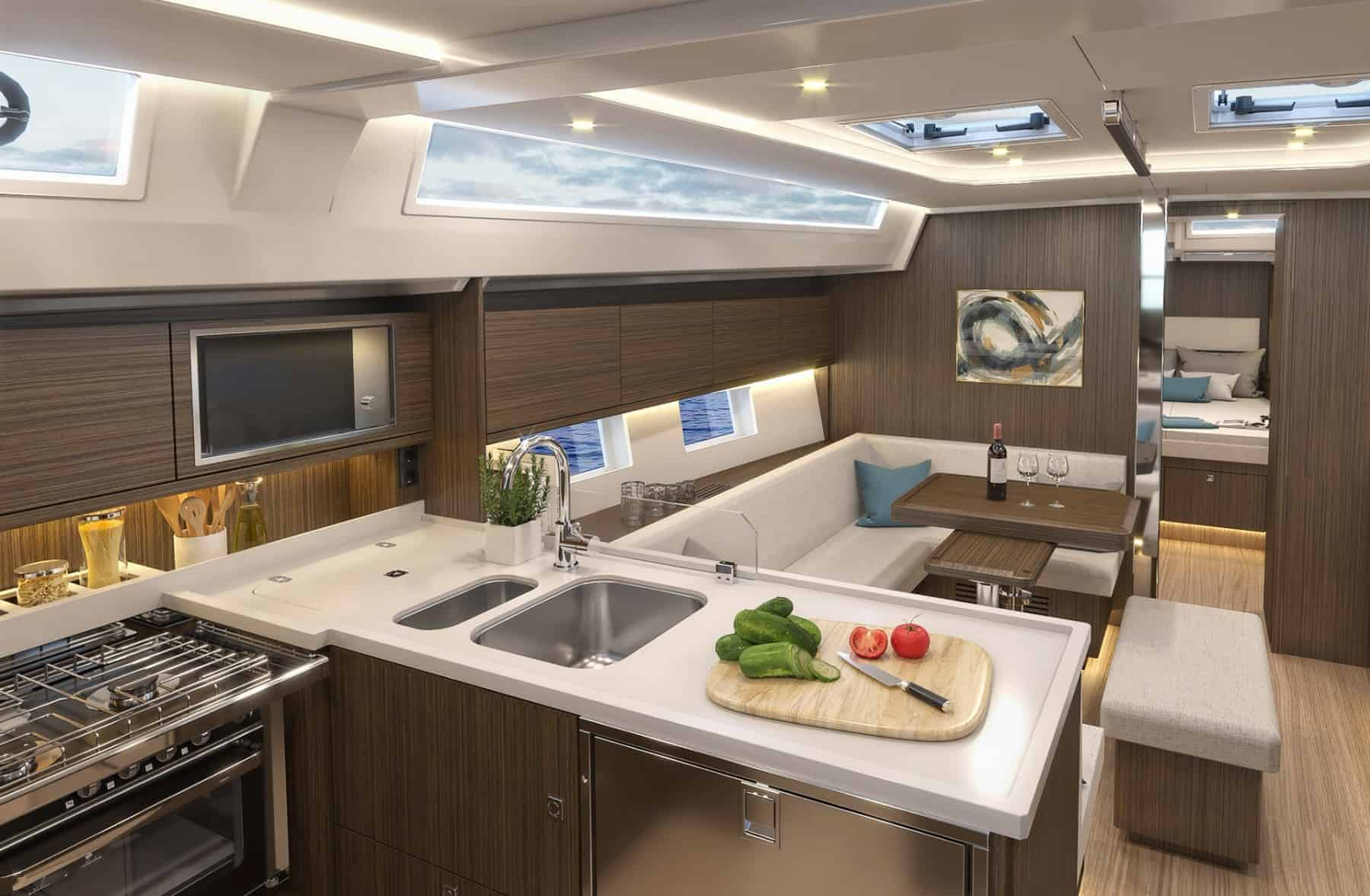 Bavaria C45 interior galley 2