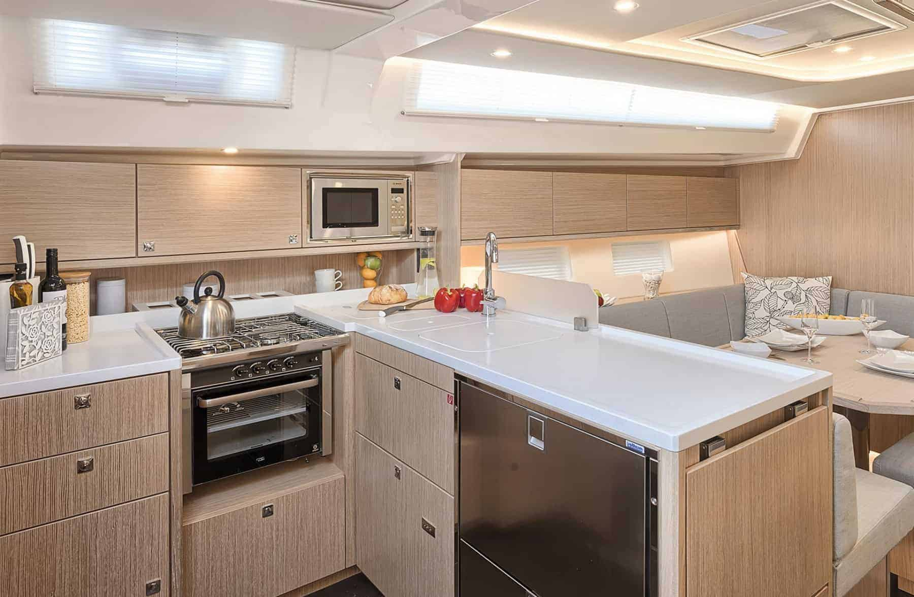 Bavaria C45 interior galley