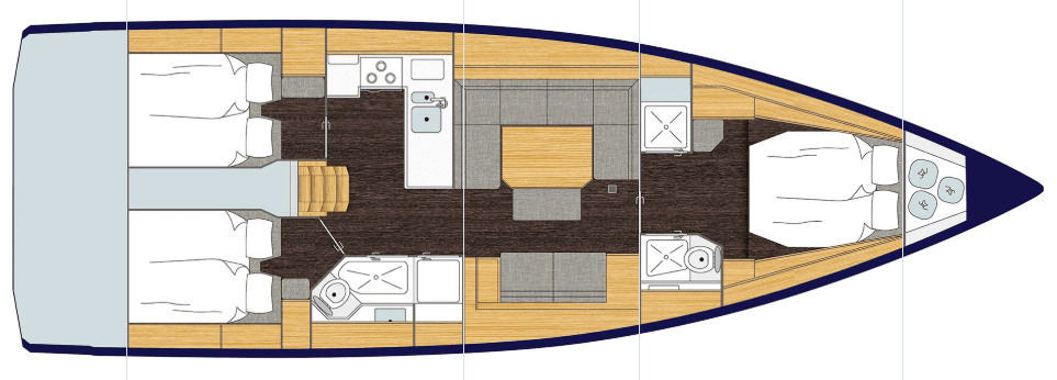Bavaria C45 interior layout