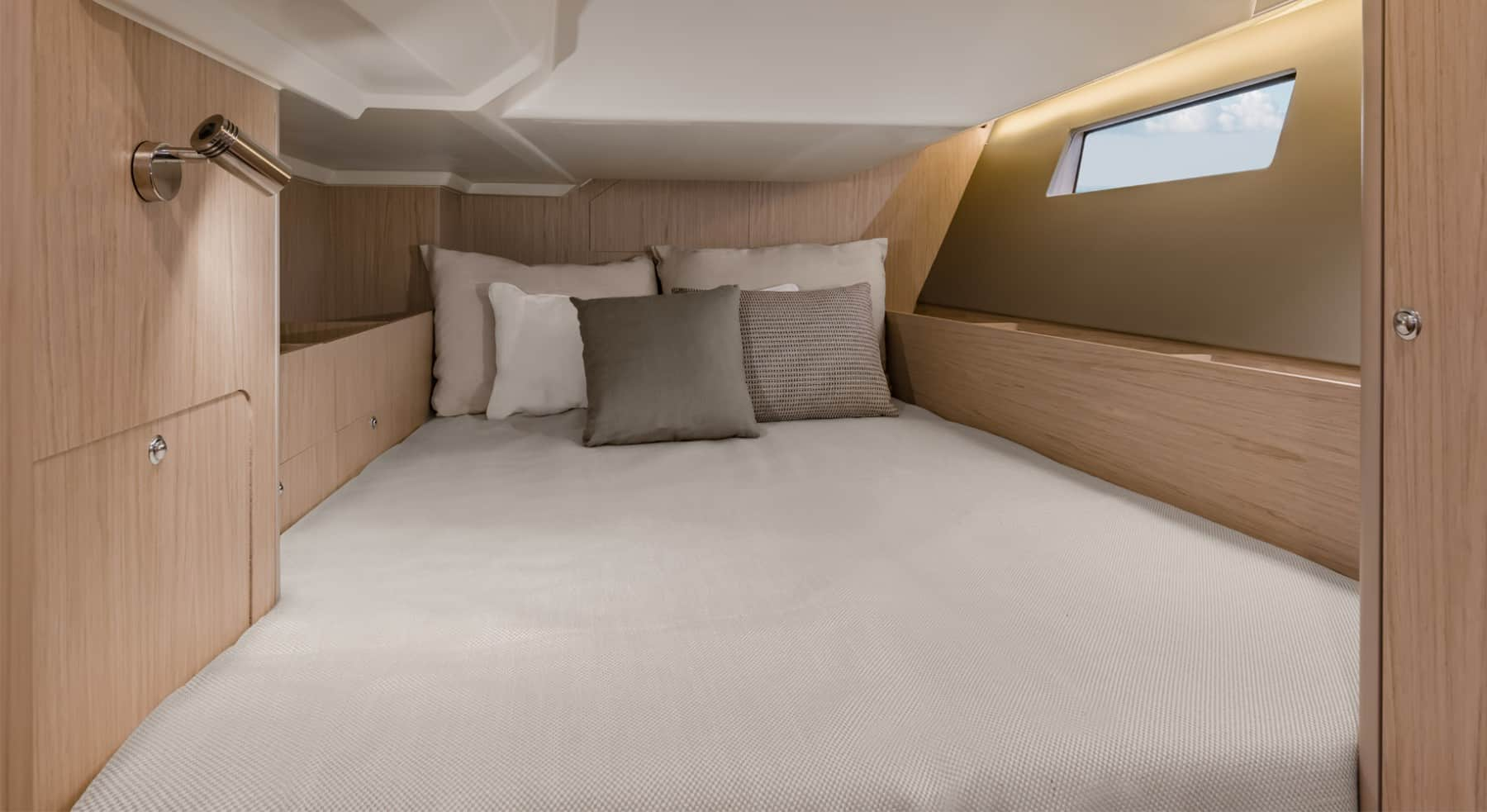 Comfy and massive double bed option in the cabins with beautiful color options