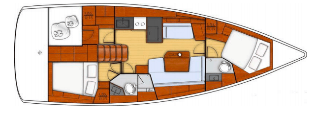 Cabins layout plan of te Beneteau Oceanis 41.1