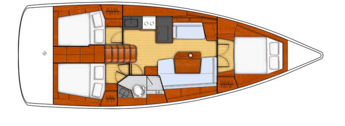 Alternate layout plan of the Beneteau Oceanis 41.1