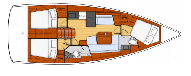 Layout plan of the Beneteau Oceanis 41.1