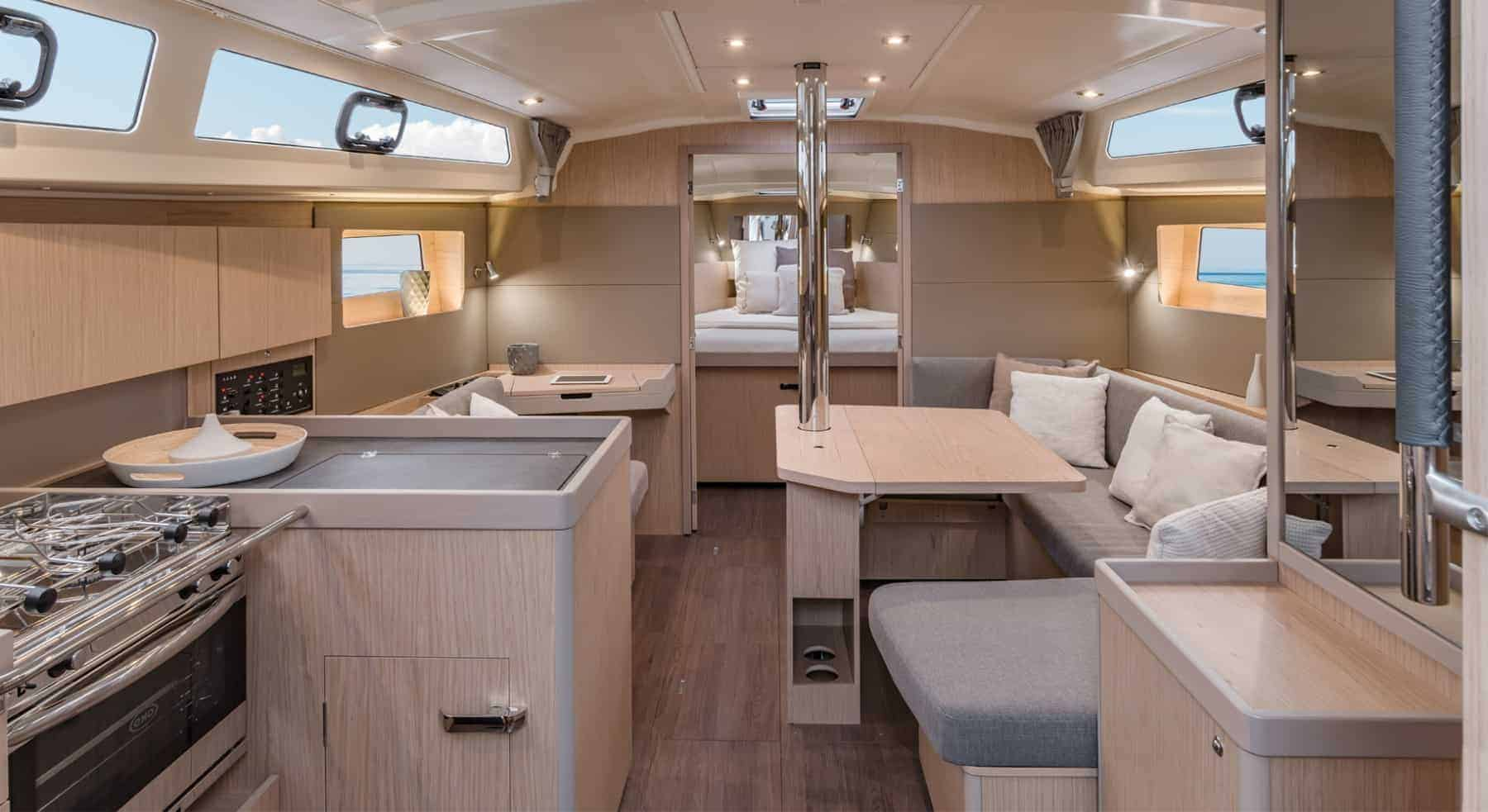 Beautiful and minimalistic kitchen and saloon area of the Beneteau Oceanis 41.1