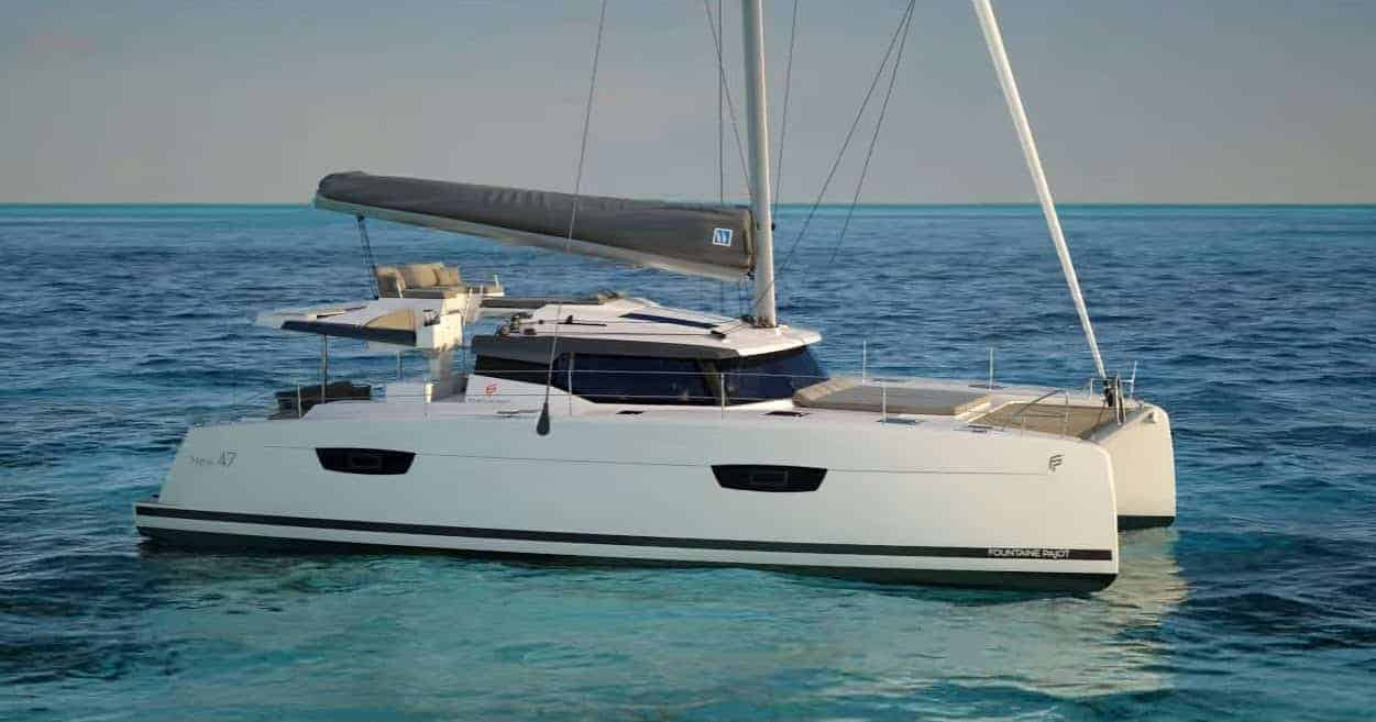 Fountaine Pajot Saona 47 floating in still, blue water a sunny day