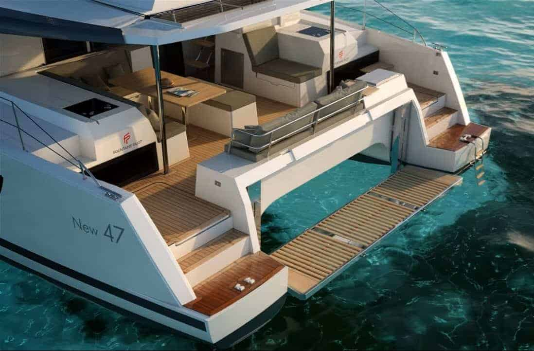 The rear of the Fountaine Pajot Saona 47 with the transom and deck