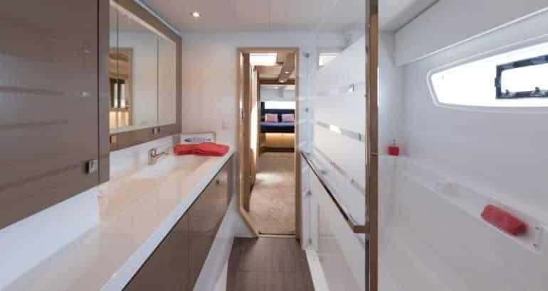 One of the hallways in a cabin of Fountaine Pajot Saona 47
