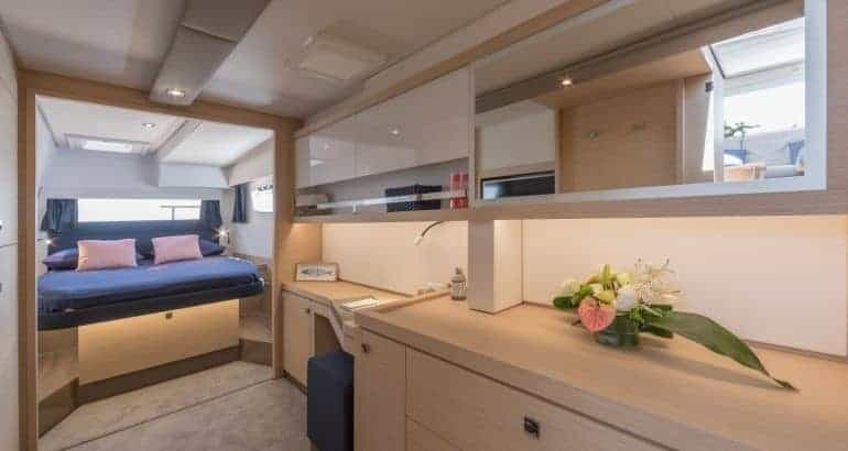 The elegantly designed interior of the cabin and hull of a Fountaine Pajot Saona 47