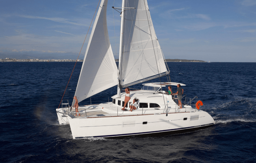 Lagoon 380 beautifully sailing the sea with wind in its sail