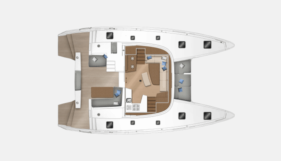 Deck layout plan of the lagoon 42
