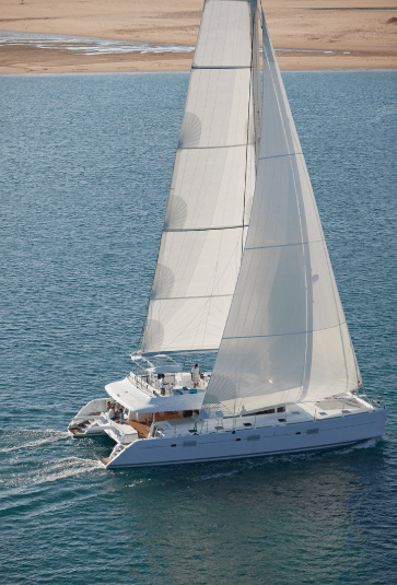 Soothing yacht Lagoon 620 sailing on the ocean