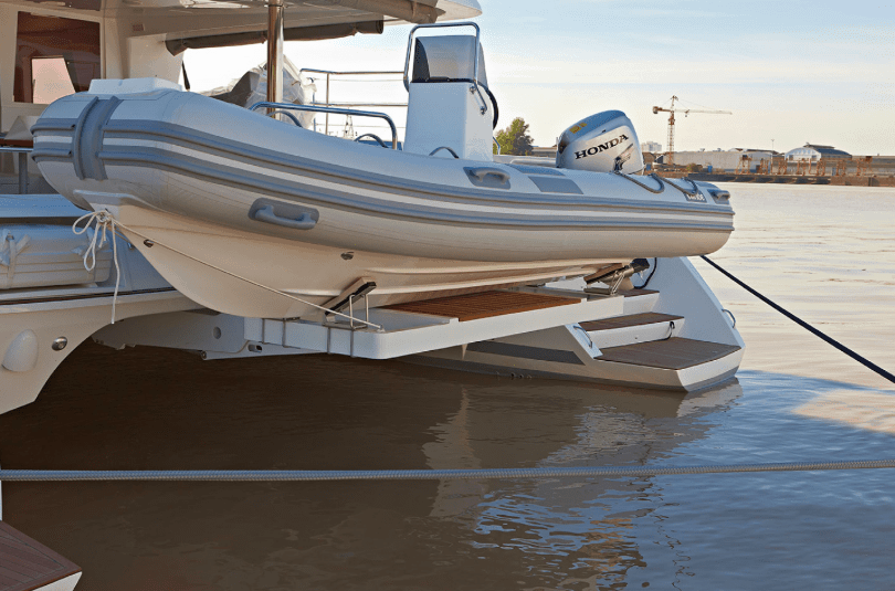 A lifeboat on the transom of the Lagoon 620