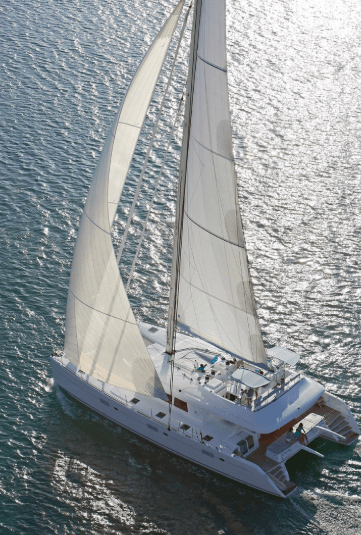 Yacht Lagoon 620 sailing on the ocean, picture from above again