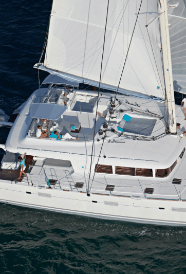 Yacht Lagoon 620 sailing on the ocean, picture from above