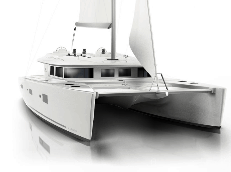 Animated exterior of the Lagoon 620 from the front