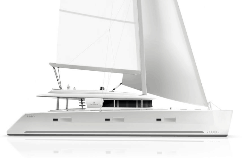 Animated exterior of the Lagoon 620 from the side