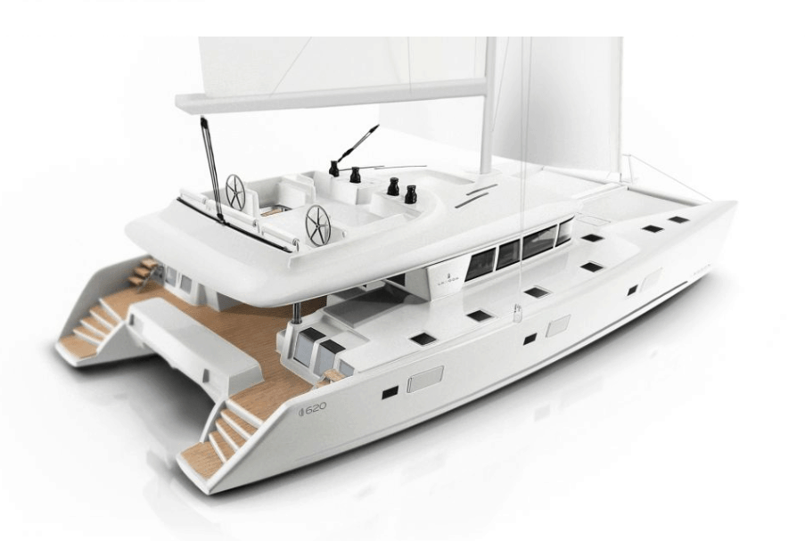 Animated exterior of the Lagoon 620 from the back