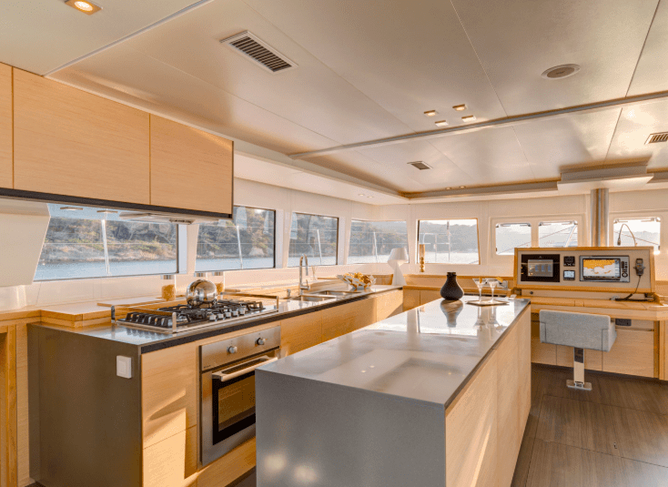 Design of the galley in Lagoon 620 yacht