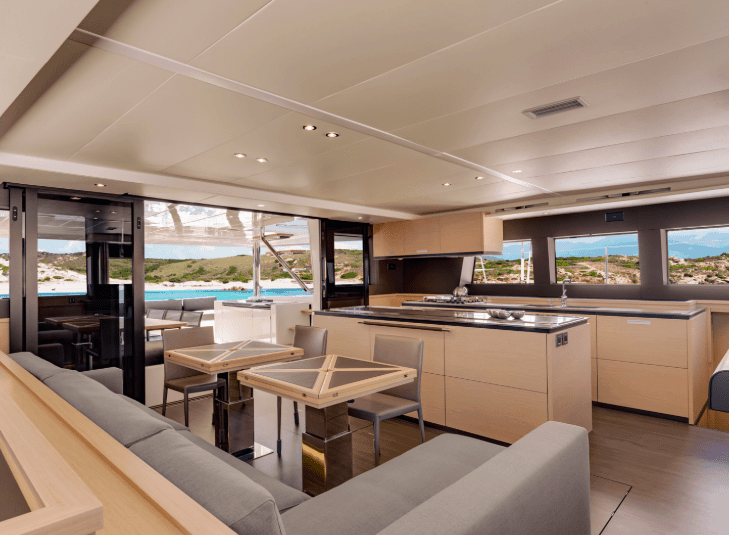 Interior design of the saloon and galley in Lagoon 620
