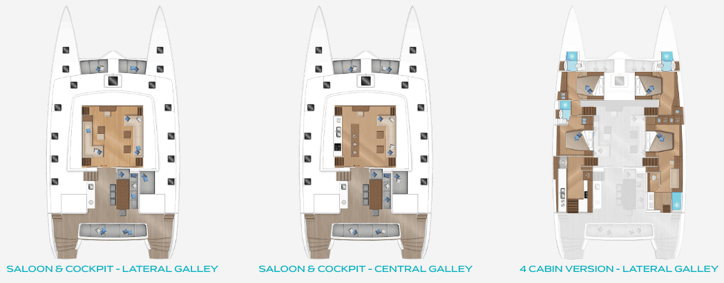 Saloon and cockpit overview of the Lagoon 620