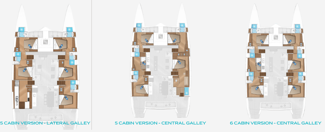 overview of the galley and cabins inside the Lagoon 620