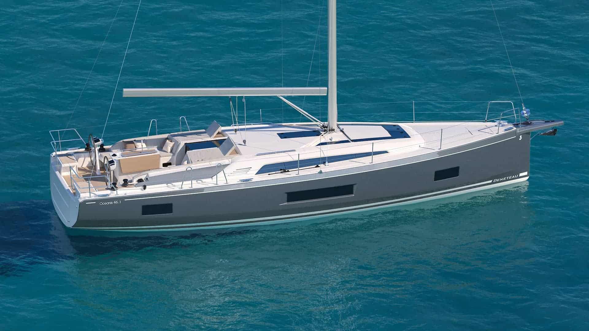 The beautiful Beneteau Oceanis 46.1 just floating in nice blue water