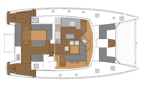 Layout from above showing saloon, galley and deck of Fountaine Pajot SABA 50