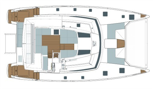Layout from above showing flybridge and deck of Fountaine Pajot SABA 50