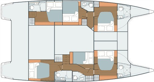 Layout from above showing different hull options of Fountaine Pajot SABA 50