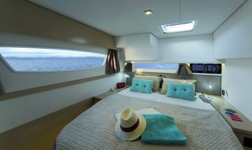 Spacious and elegant owners cabin of the Fountaine Pajot SABA 50 with big windows