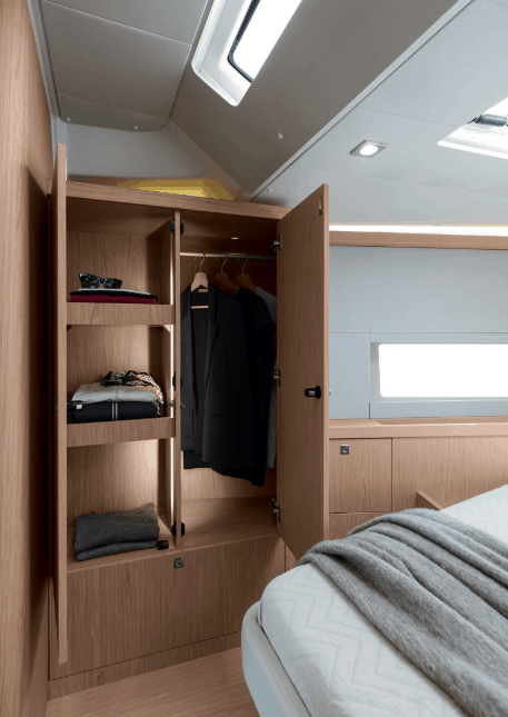 Perfect wardrobe to store your suit jackets in the luxurious Beneteau Oceanis 55.1 cabins
