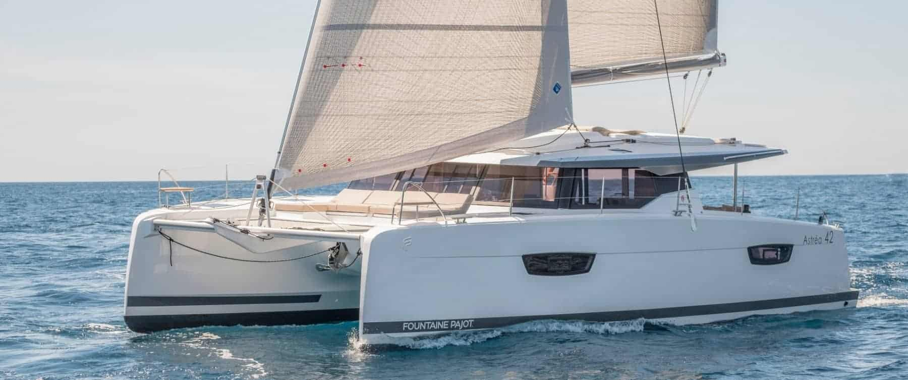 The Fountaine Pajot Astrea 42 in action sliding through the waves