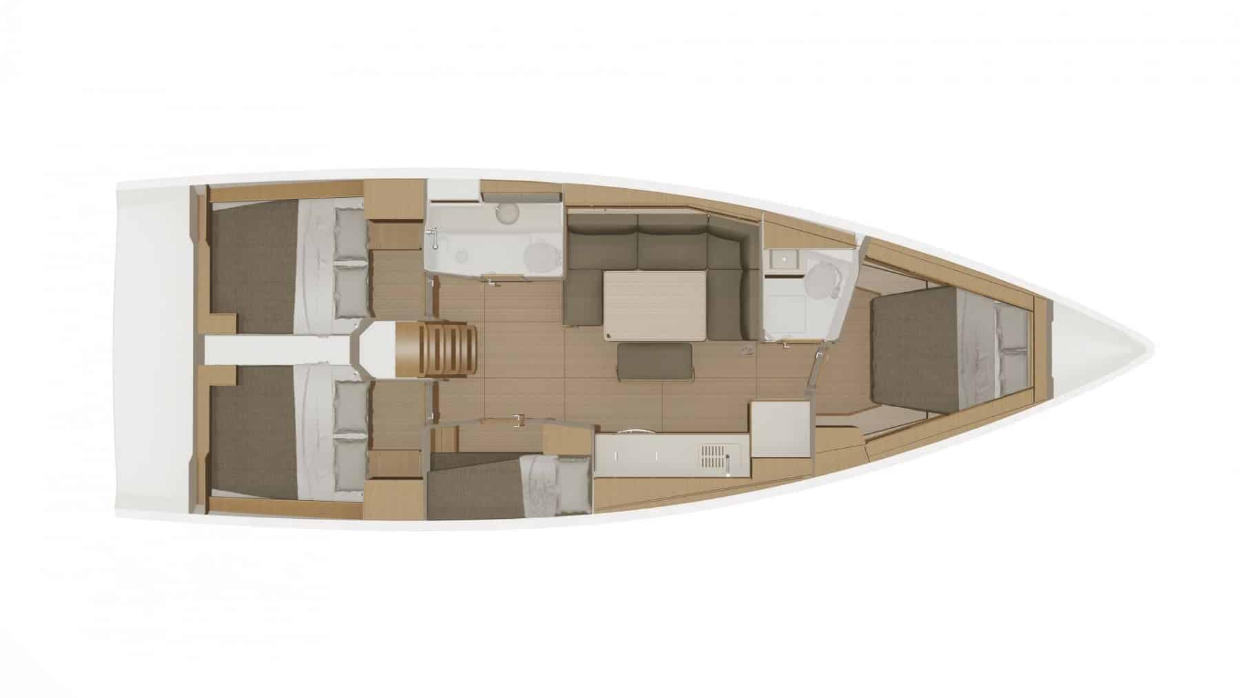 Animated layout from above of the interior of Dufour 430 Grand Large, with cabins, galley and saloon