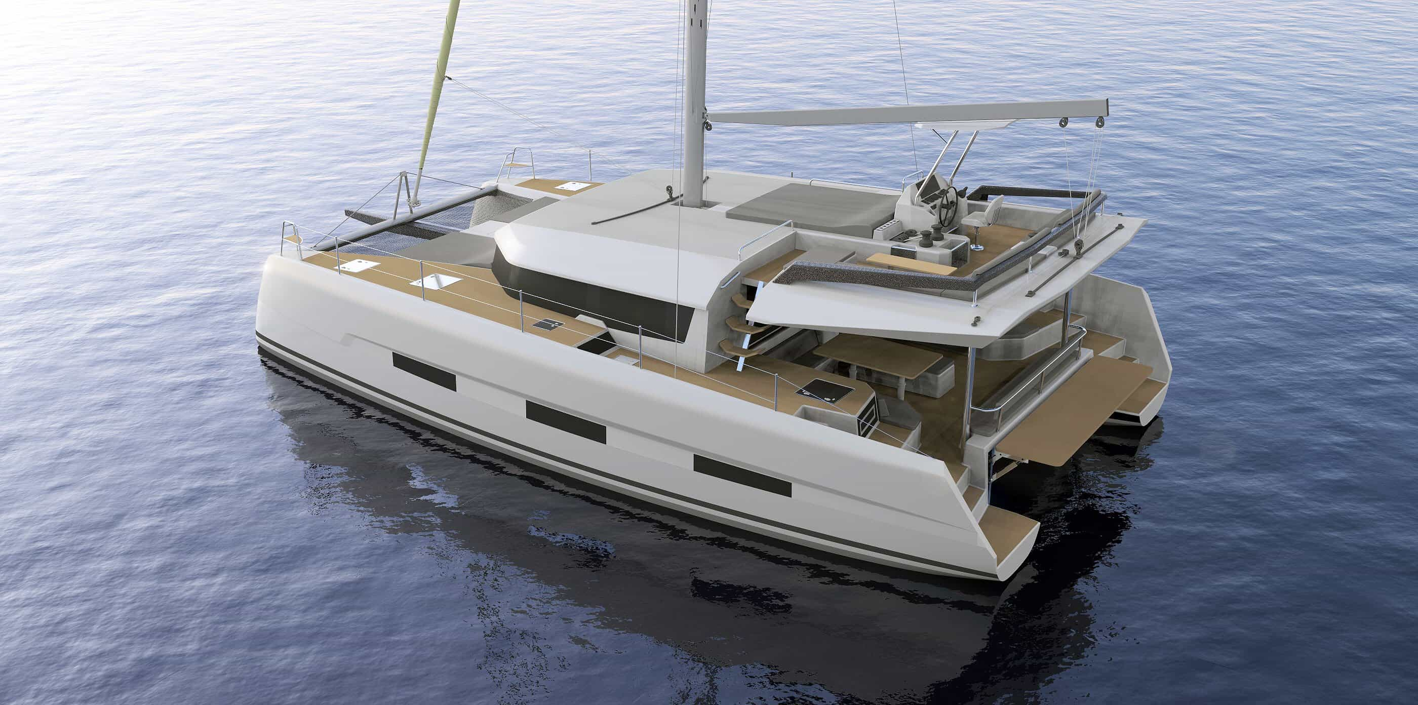3D animated Dufour Catamaran 48 in water from behind