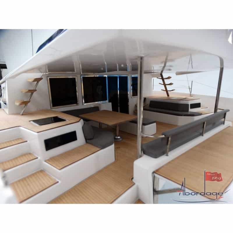 Animated cockpit of the beautiful Dufour Catamaran 48