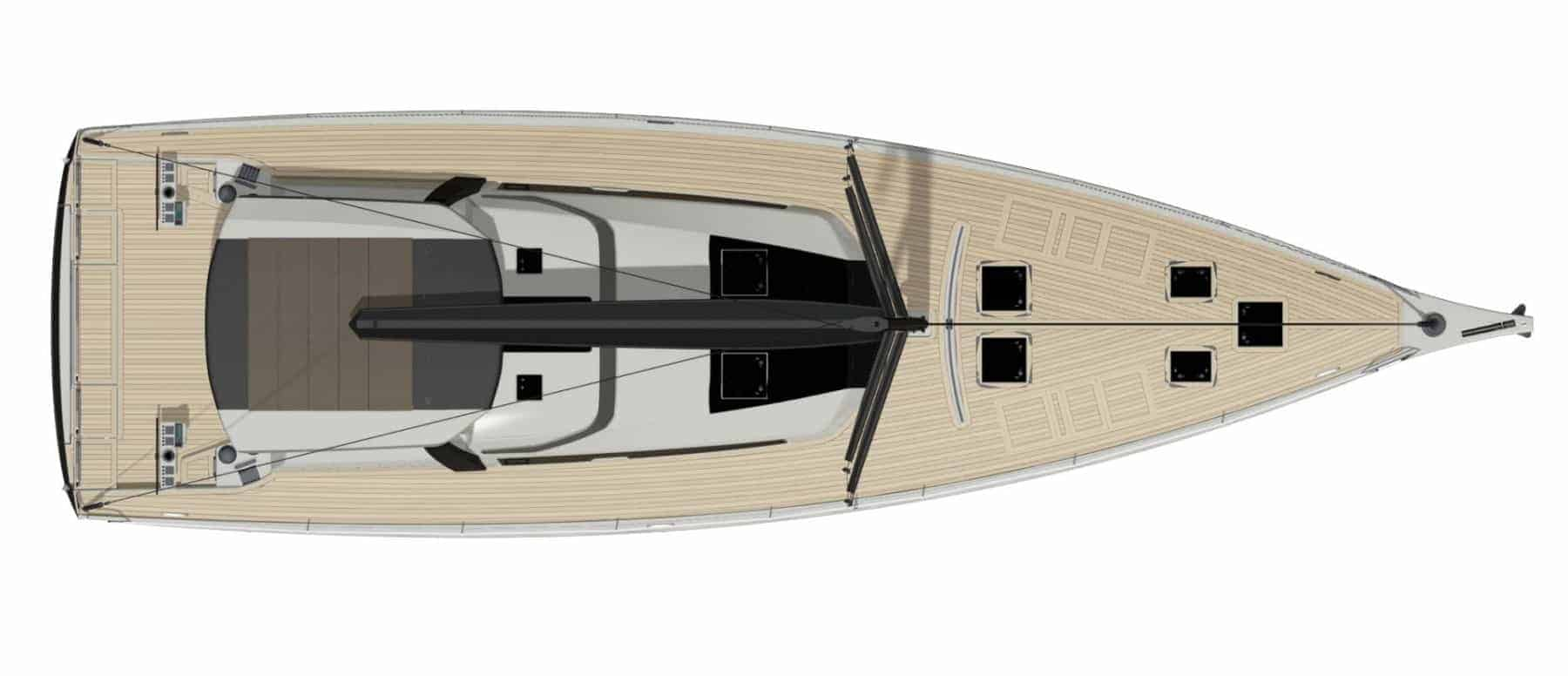 Deck layout plan of the Dufour Exclusive 63