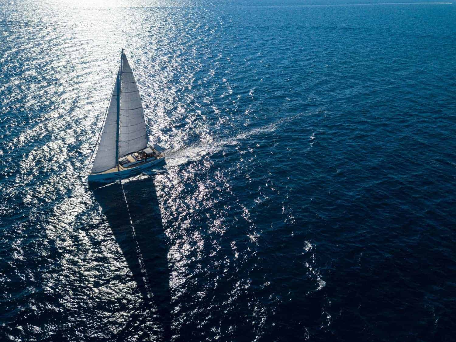 The Dufour Exclusive 63 in action, gliding through the blue calm ocean