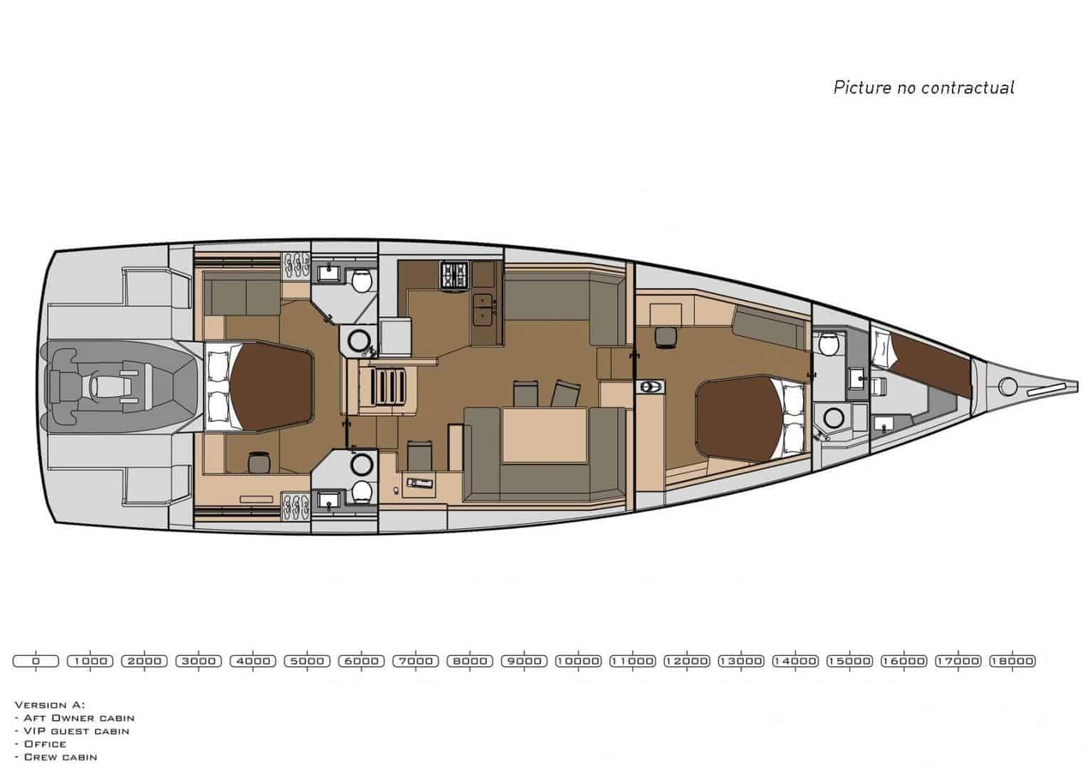 2 cabin layout of the Dufour Exclusive 63