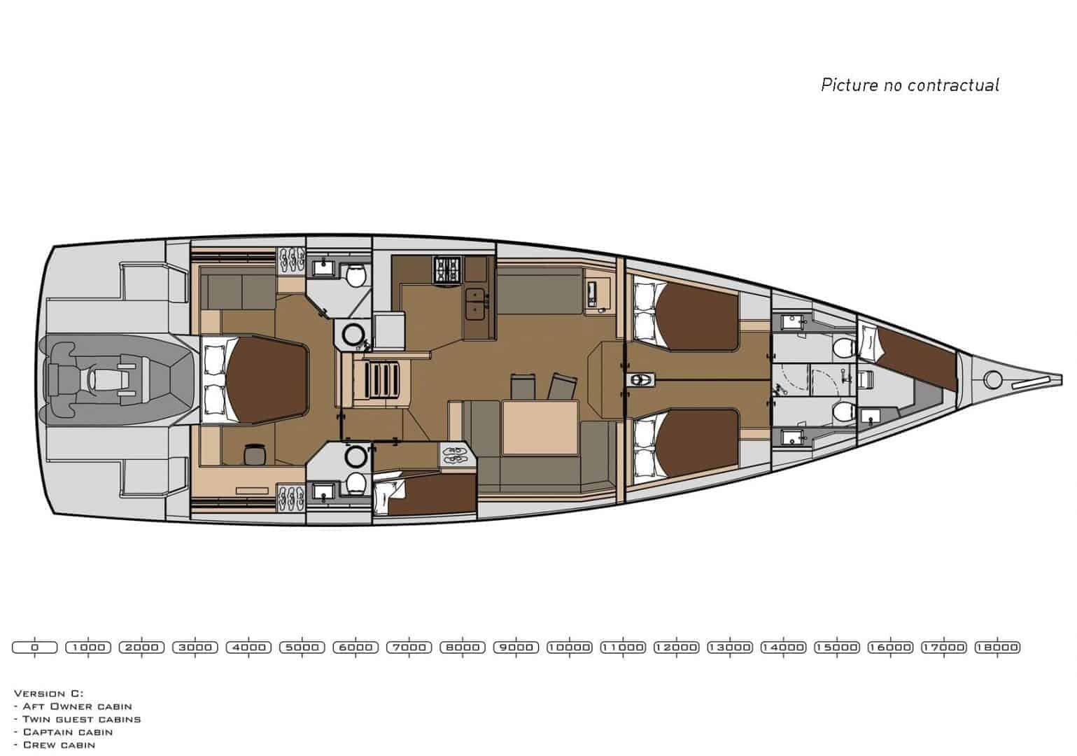 4 cabin layout plan of the Dufour Exclusive 63