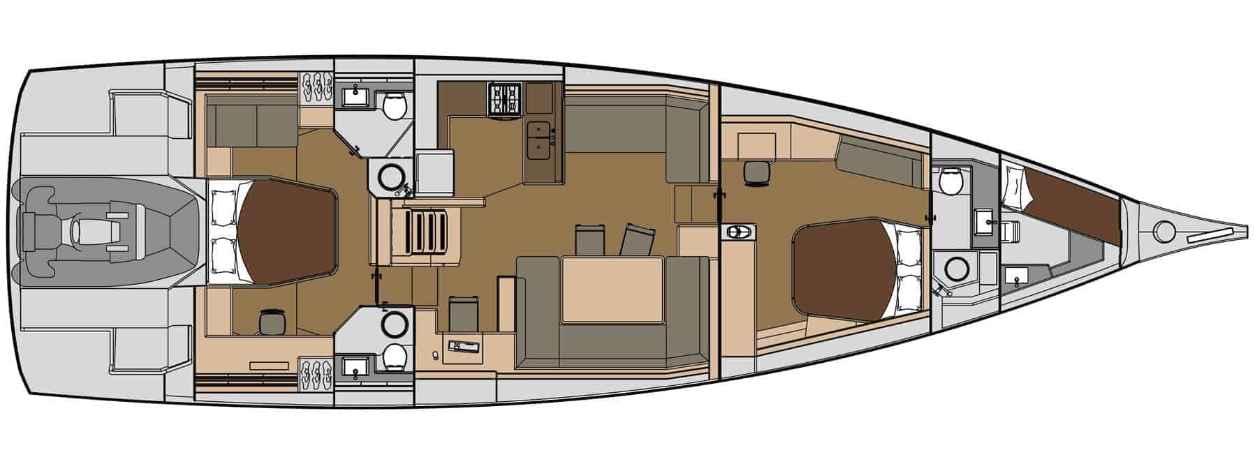 3 cabin layout plan of the Dufour Exclusive 63