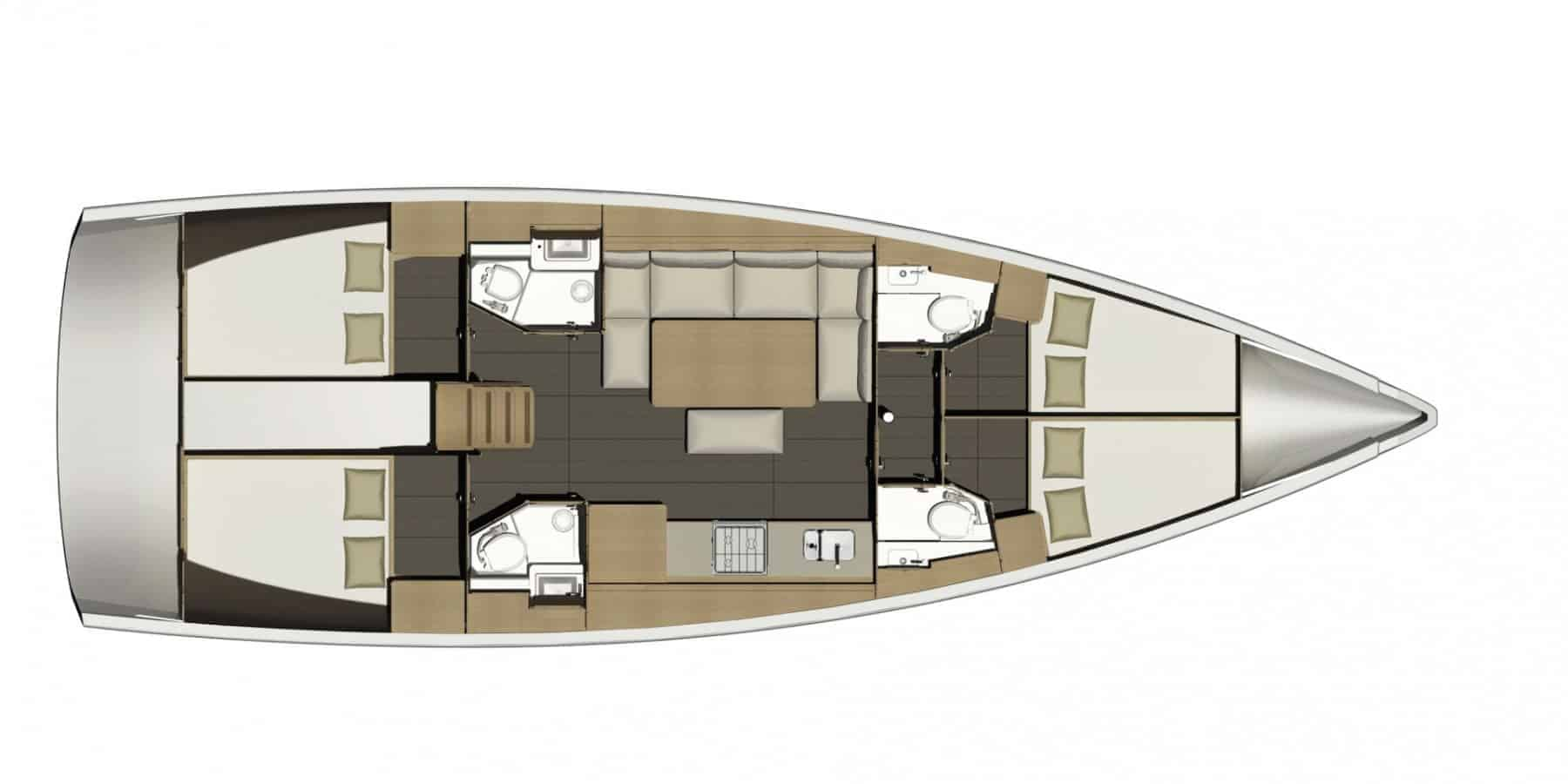 Layout from above of the Dufour GL 460, showing cabins, saloon, galley and head