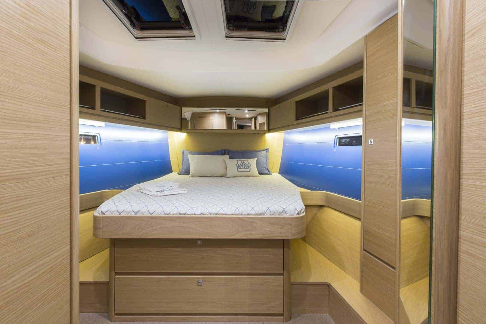 Luxurious Dufour GL 460 owners cabin with big bed