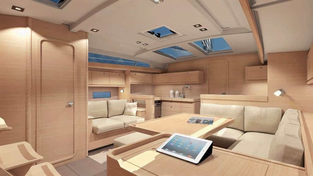 The spacious and elegant saloon of the Dufour GL 460 with wooden interior