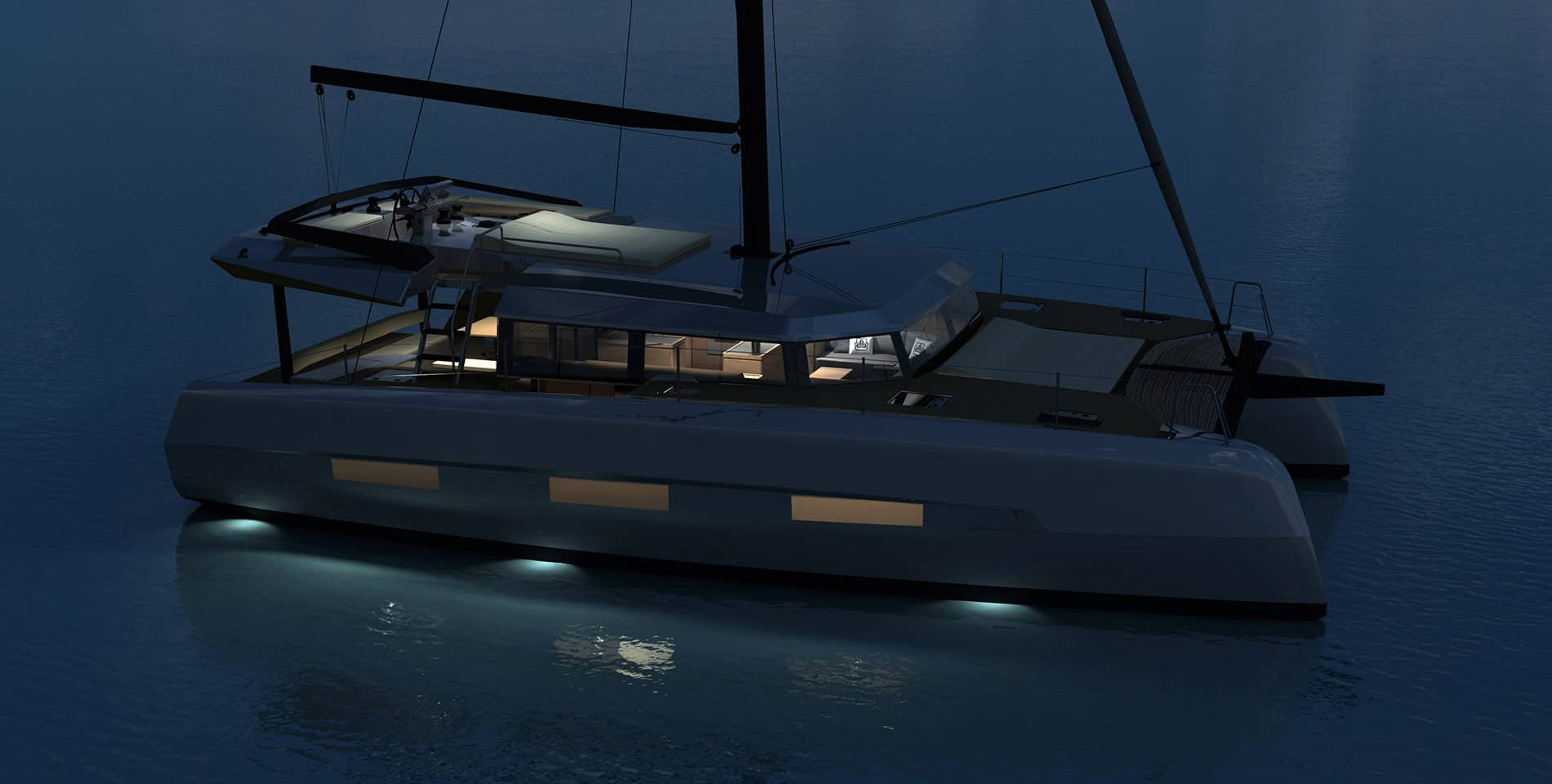 Animated Dufour Catamaran 48 demonstrating the cool lights under the boat lit up in the water