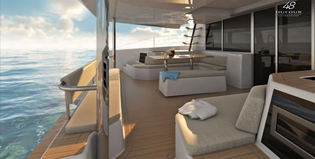 Beautiful deck of the luxurious and spacious Dufour Catamaran 48